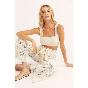 NWT Free People Dragonfly Crochet Flare Pant M